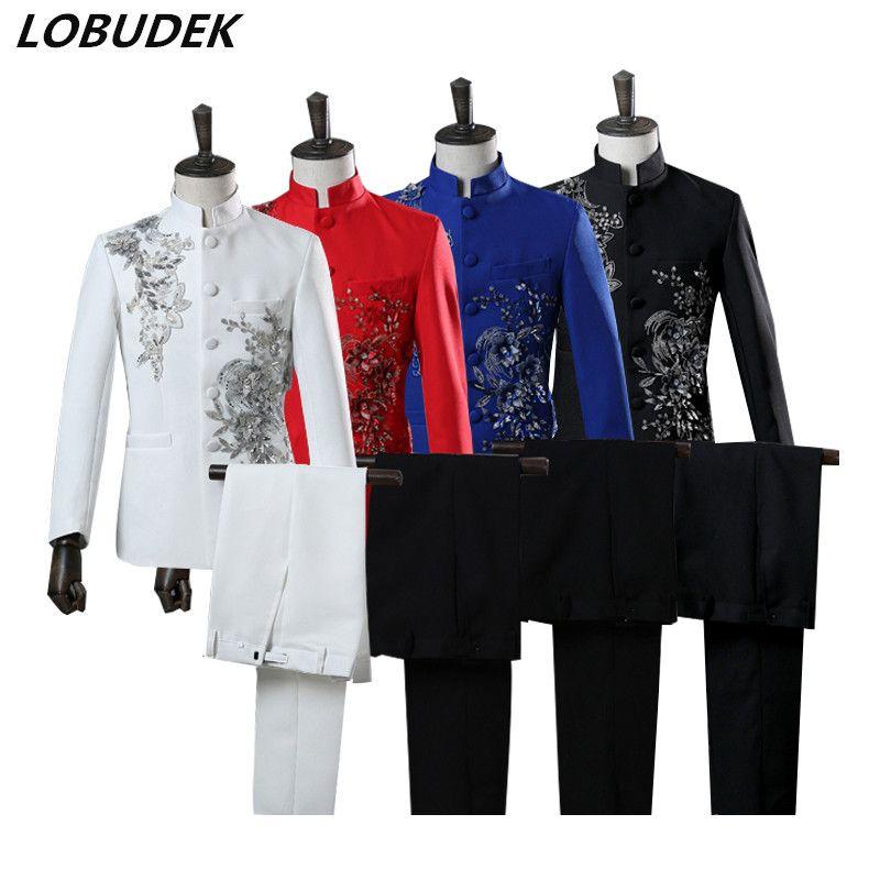 Homme Costume Tunique chinoise Applique Paillettes cristaux Blazers Collier Stand Noir Blanc Suits Robe de mariage Chorale hôte Chanteur Choeur Robe