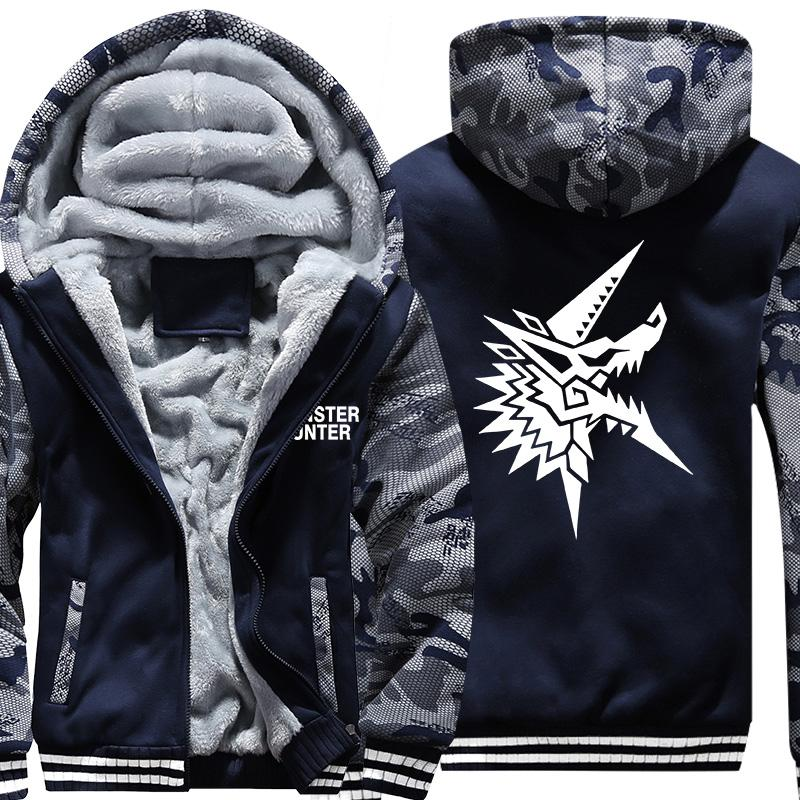 USA Size Mens Camouflage Coat for Game Monster Hunter World 2G 3G TRI MH4 Battle Fatigues Jacket Thicken Hoodie Sweatshirts