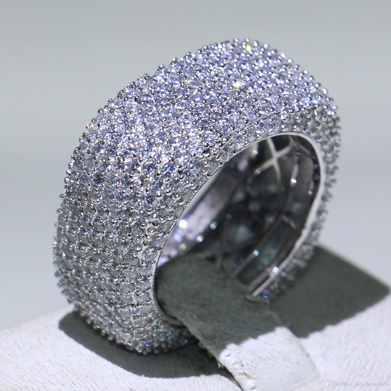 Diamantfüllung Luxus Schmuck 925 Liebhaber Silber 5-10 Pave Frauen Hochzeit Band Saphir CZ Ring Versprechen Größe Full Sterling Weißer Ring für M FKFX