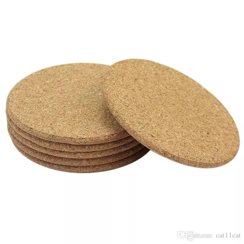 10cm*0.5cm Round Shape Plain Cork Coasters Heat Resistant Tea Drink Wine Coffee Cup Mat Pad Table Decor - ideas for wedding party gift