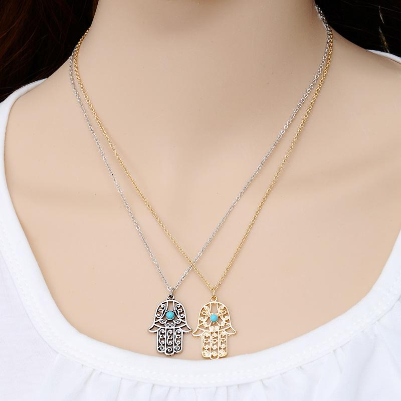 Party Luck Hamsa Hand Pendants Necklace Gold Silver Fatima Hand Palm Necklaces for Women Clavicle Sweater Chain Christmas Gift