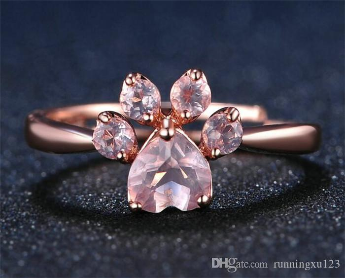 100pcs Bear Paw Cat Claw Opening Adjustable Ring Rose Gold Rings for Women Romantic Wedding Pink Crystal Jewelry R208