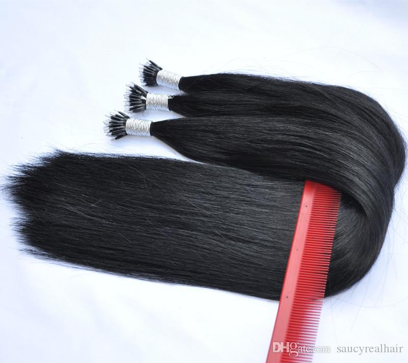 """Extensiones de cabello Nano Ring de Malasia de fondo grueso 1g hilo 300g Lote 14 """"a 24"""" Opción de 3 colores de cabello Remy de alta calidad"""