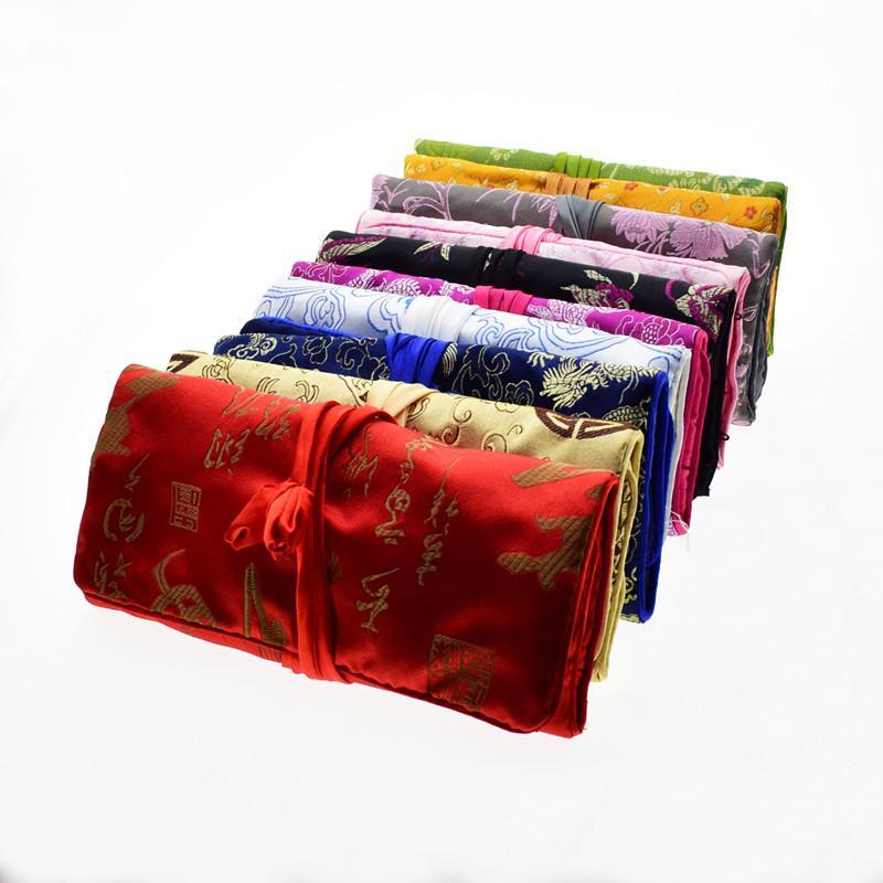 Luxury Silk Brocade Smycken Travel Roll Bag Floral Drawstring Kosmetisk lagringsäck Stor dragkedja Fällbara Kvinnor Makeup Bag 50pcs / Lot