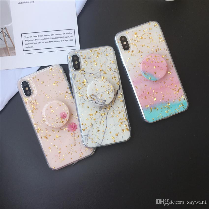 Custodia per cellulare in lamina di scintillio con cinturino in oro per iPhone XS Max XR X 8 7 6 Custodie in silicone morbida con staffa