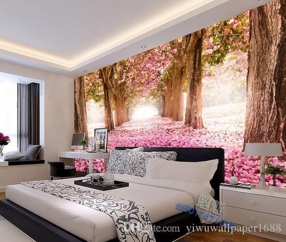 Foto personalizada de cualquier tamaño Maderas, flores, hojas de mar, caídas, paisajes fragantes, murales