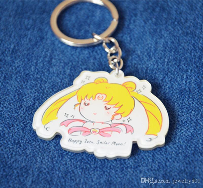 Sailor moon Cartoon Keychain Anime Charm Art Figure Pendant Key Ring Toy Halloween Cosplay Acrylic keychain Cartoon Toy Gift