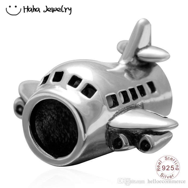 Airplane Charms 925 Sterling Silver Passenger Flights Charm Travel Transportation Charm for Bracelet