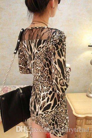 Damska Seksowna Długie Rękaw Topy Mini Sukienka Lady's Leopard Koronka Patchwork Krótka sukienka