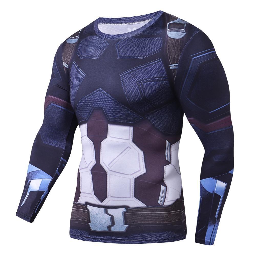 Avengers 3 Captain America 3D Imprimé T shirts Hommes Compression Chemise 2018 Comics Cosplay Costume Vêtements À Manches Longues Tops Homme