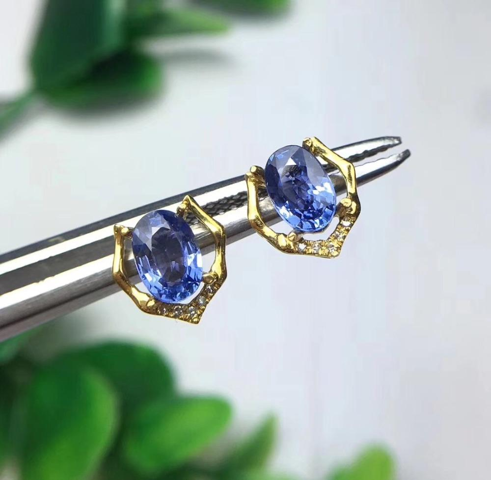 18K Yellow Gold Stud earring Free shipping Natural real sapphire stud earrings Fine jewelry 4*6mm 2pcs gems 10pcs Diamond