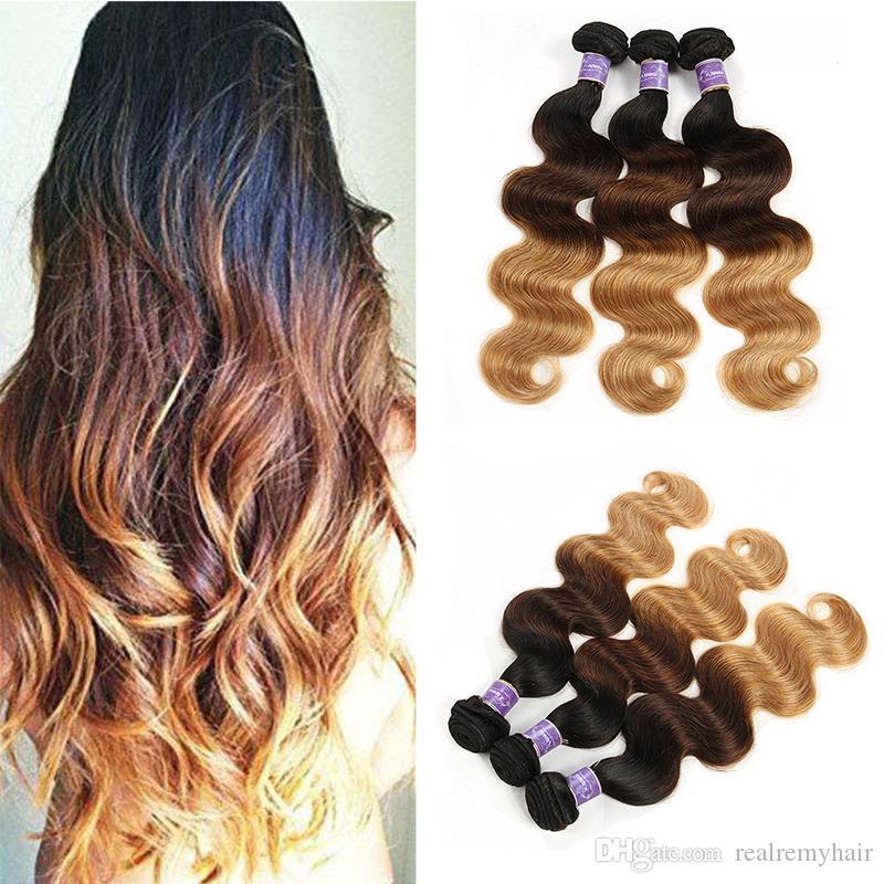 Cabello brasileño de color 3 paquetes Body Wave T 1b / 4/27 # Tres tonos Rubio Ombre Extensiones de cabello Venta al por mayor Virgin Human Hair Weaves