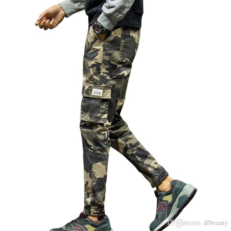 Roupas masculinas Outono dos homens calça casual maré coreano marca pés soltos camuflagem nove pontos calças pés harem pants M-4XL