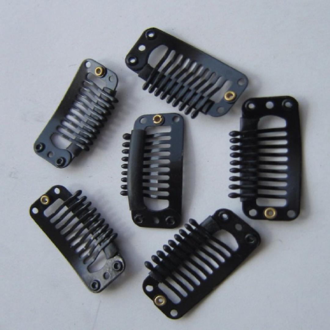6 unidades / pacote 9 Dentes Em Forma de U de Metal Cabelo Preto Snap Snap Pente para Extensões de Cabelo Peruca Trama De Trama Clipes Invisíveis Pinos de Fixação