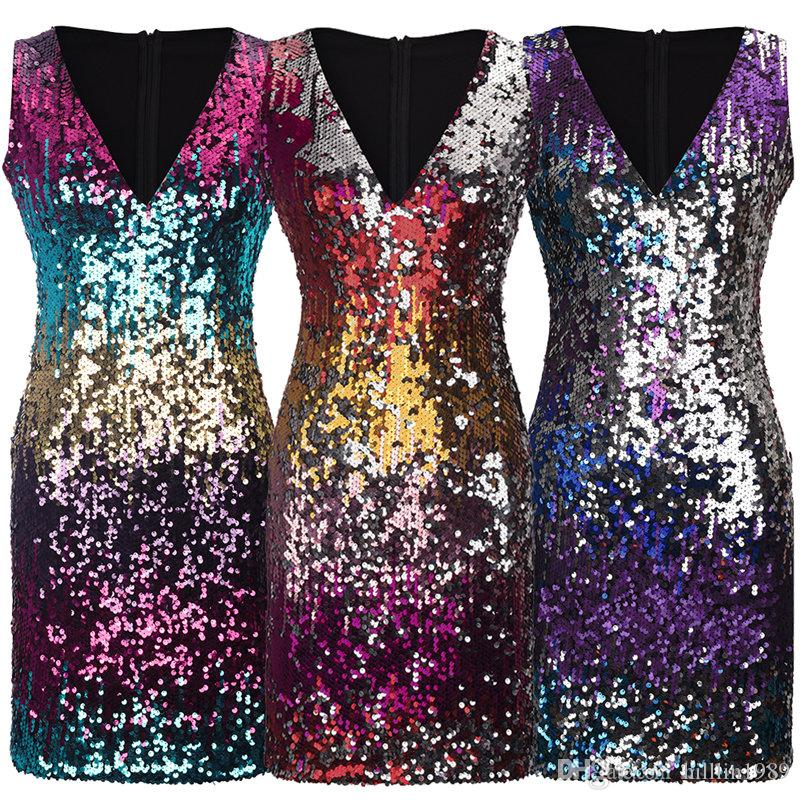 Plus Size Sexy V-neck Sequin Streetwear Cocktail Dress Sleeveless Celebrity Party Dress Nightclub Bling Bling Skirts