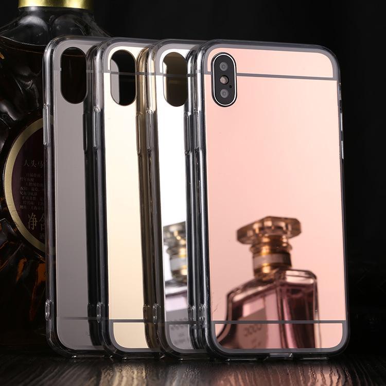 iPhone 11 Pro Max XR x R x 8 7 6 6s Plus Samsung Galaxy S10 E S9のための電気メッキミラーのアクリルメッキTPUカバーケースS9注9 M10 A30 A50