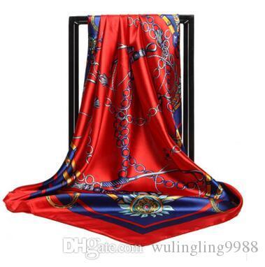 여성 레오파드 실크 새틴 헤드 광장 히잡 스카프 새로운 패션 비치 목도리 랩 스카프 90cm * 90cm 무료 배송 10 개 스타일 인쇄하기