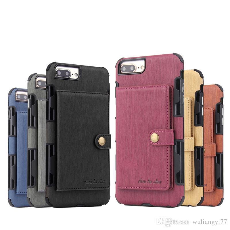 Luksusowy PU Skórzany Slot Karty Przypadki dla iPhone 6S 7 8 plus Wallet iPhone6 Odwróć ochronną odporną na wstrząsek