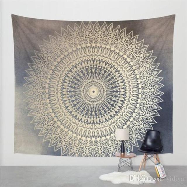 2018 Moda India Decoración de la pared Hippie Tapices Boho Psicodélico Mandala Tapicería Colgante de pared Hoja de algodón Cama de tiro
