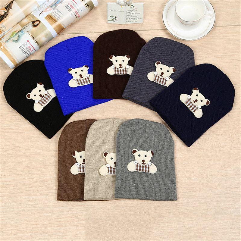 Autumn and winter warm male baby strap bear earmuffs infant children cartoon pullover hat wool hat knit hat