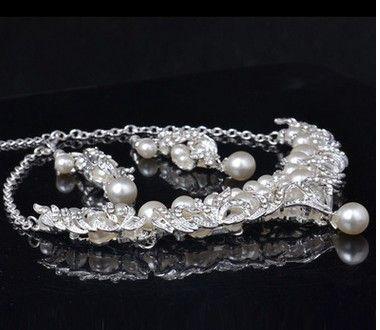прекрасный алмаз Кристалл свадебный комплект ожерелье серьги (33)hjhj