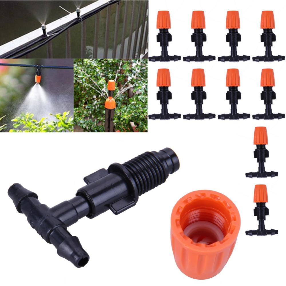 50pcs 3/5mm Garden Hose Sprinkler T Shape Three Hole Micro Drip Irrigation Pipe Barbed Connector Garden Watering System