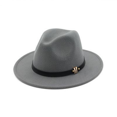 M Brand Black Winter Wide Brim Hats Wool Dad Fedora Hat Gentleman Woolen Jazz Church Cap Vintage Panama Sun Top Hat Accessories