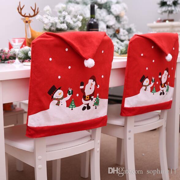 ويغطي كرسي عيد الميلاد الأحمر عيد الميلاد هات عيد ميلاد سعيد كرسي الغطاء الخلفي عيد الميلاد الطرف الديكور 60 × 49 سم
