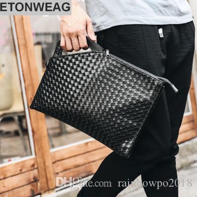 Factory brand men bag fashion woven handbag street tide male personality skeleton skull leather hand grab bag printing fashion hand bag