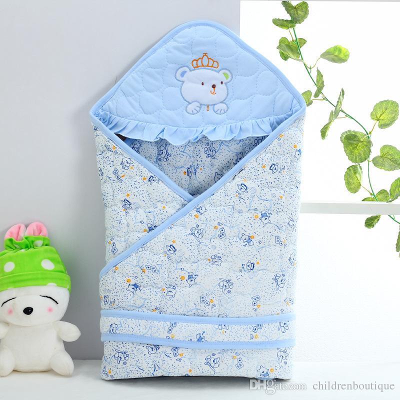 2018 Recién Nacido Bebé Saco de dormir Otoño Invierno Bordado Envolvente Para recién nacido Swaddle Wrap Ropa de bebé Manta de algodón Mochilas para dormir 4Colors