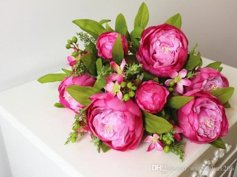 (7 cabezas / manojo) 2014 Nuevo.Seda / Simulación / Flor artificial Ramo de flores de peonía