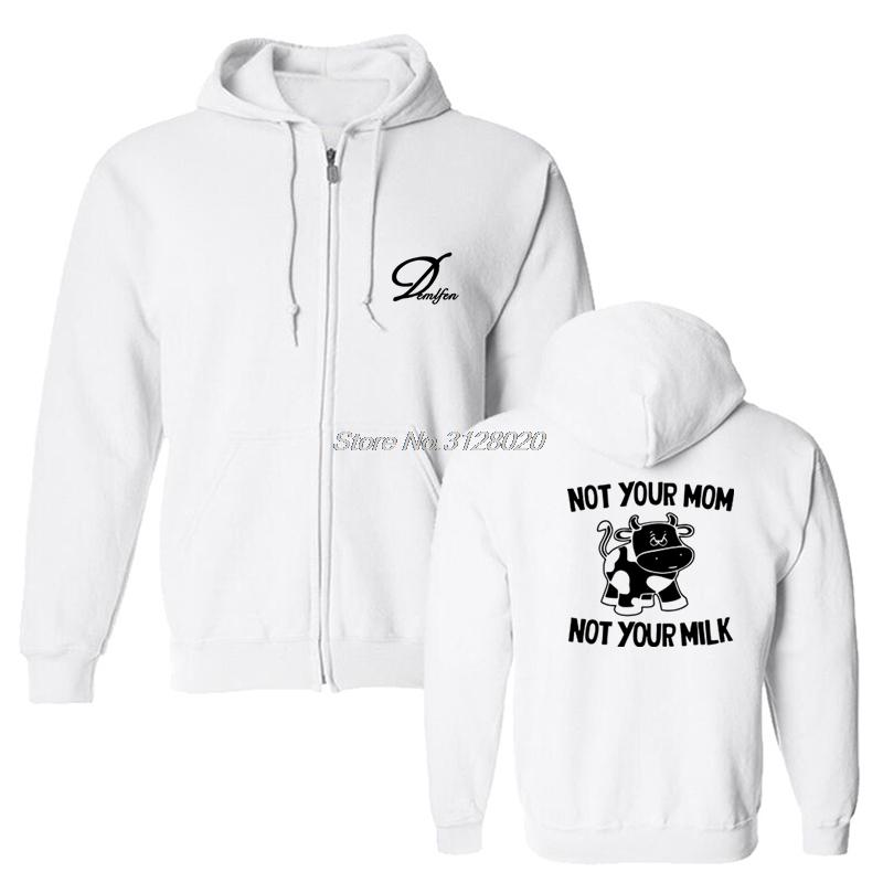 eeaa0f422ad6 2019 New Not Your Mom Not Your Milk Funny Hoodies Men Cow Animal Print  Sweatshirts Male Cotton Fleece Tops Jacket From Rachaw, $39.71 | DHgate.Com