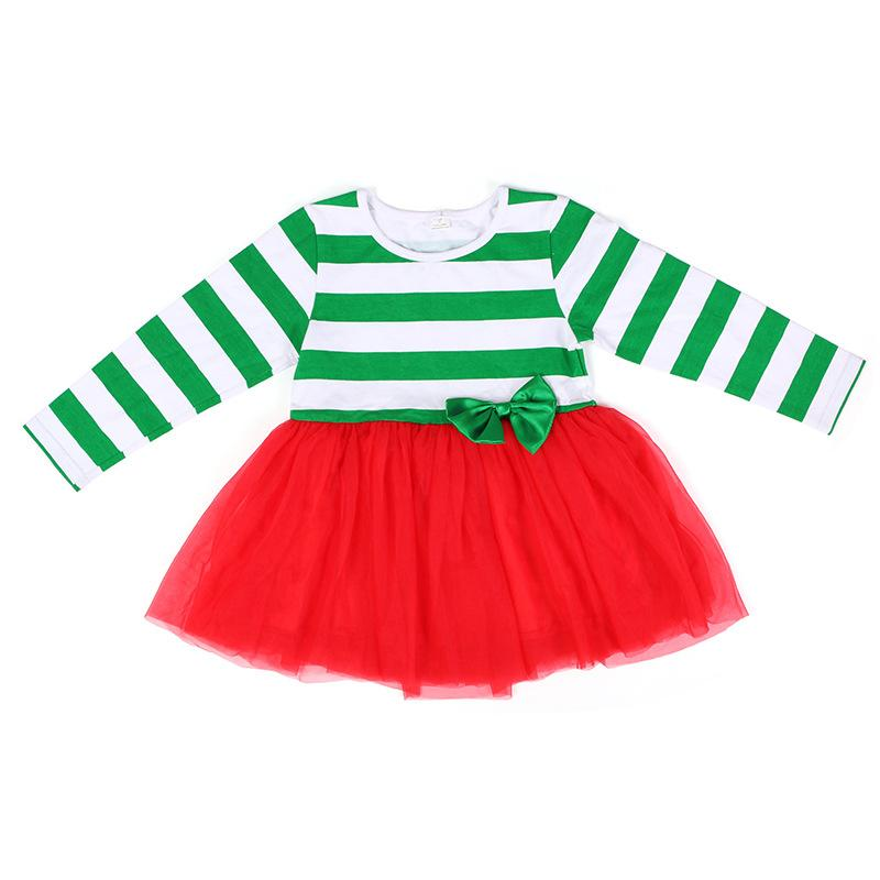 New Arrival Baby Girls Dresses Children White and Green Striped with Red Tutu Dress Fashion Kids Clothes