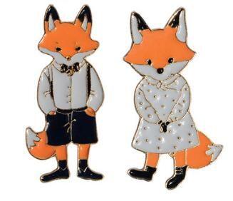 Cute Animal couples fox Enamel Brooch Pins Hat Shirt Denim Jacket Decor Party Prom Women Men Accessories 19