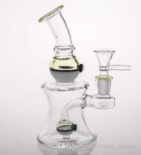 Joint 14.4mm Noctilucent Glass Bongs Unique UV Beaker Two Function Bongs 16cm Dab Rigs Recycler Bongs Water Pipes Cheap in stock Hookahs