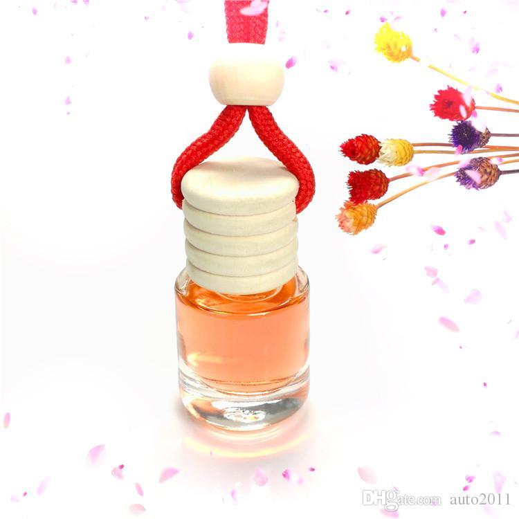 Quartetto 5ML con profumo di copertura Diffusore per auto Bottiglia per vaso Pendenti per auto Boutique Legno Top Corda per appendere Bottiglia vuota