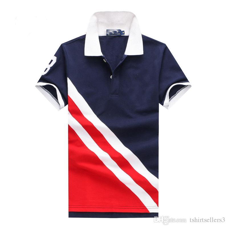 무료 배송! 2018 신작 3 색 능직 옷깃 반팔 티셔츠 남성 티셔츠 100 % Cotton 고급 폴로 스포츠