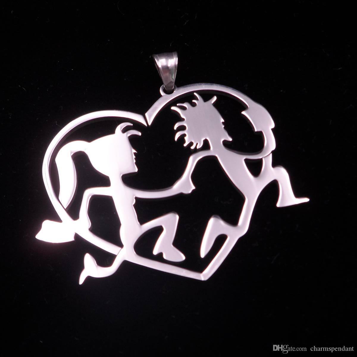 Lot 5pcs ICP HATCHET MAN n HATCHET GIRL LOVE Polished Stainless pendant Charms ICP Jewelry High Polsihed large 2.5mm