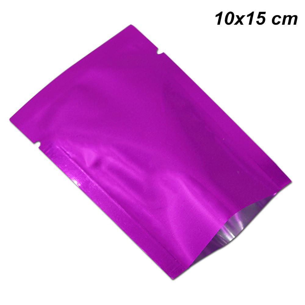 100шт 10x15 см фиолетовая открытым верхом алюминиевой фольги, жару-загерметизируйте еды пакеты майлара фольги вакуумный термосварки мешки упаковки для образца