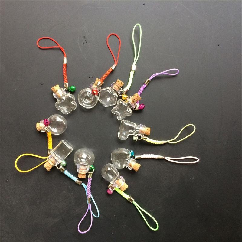 Mini Glass Bottle Pendants With Chain Key Necklace Cute Gifts Jars Vial Bottles Pendants Mix 10 Shapes4