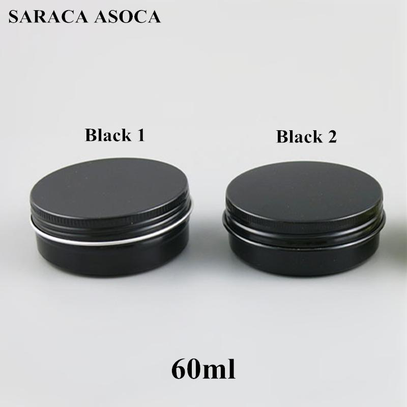 Frascos de aluminio rellenables vacíos de 60 ml 60g Recipientes cosméticos de estaño de metal de oro negro Embalaje artesanal Caja de aluminio pequeña 100pcs / lot