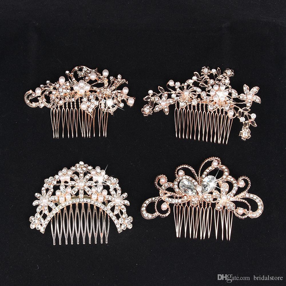 Cheap Bridal Alloy Crystal Pearls Comb Rose Gold Bridal Hairpins Dish hair accessories Updo Bridesmaid Wedding Accessories Hair Headpiece