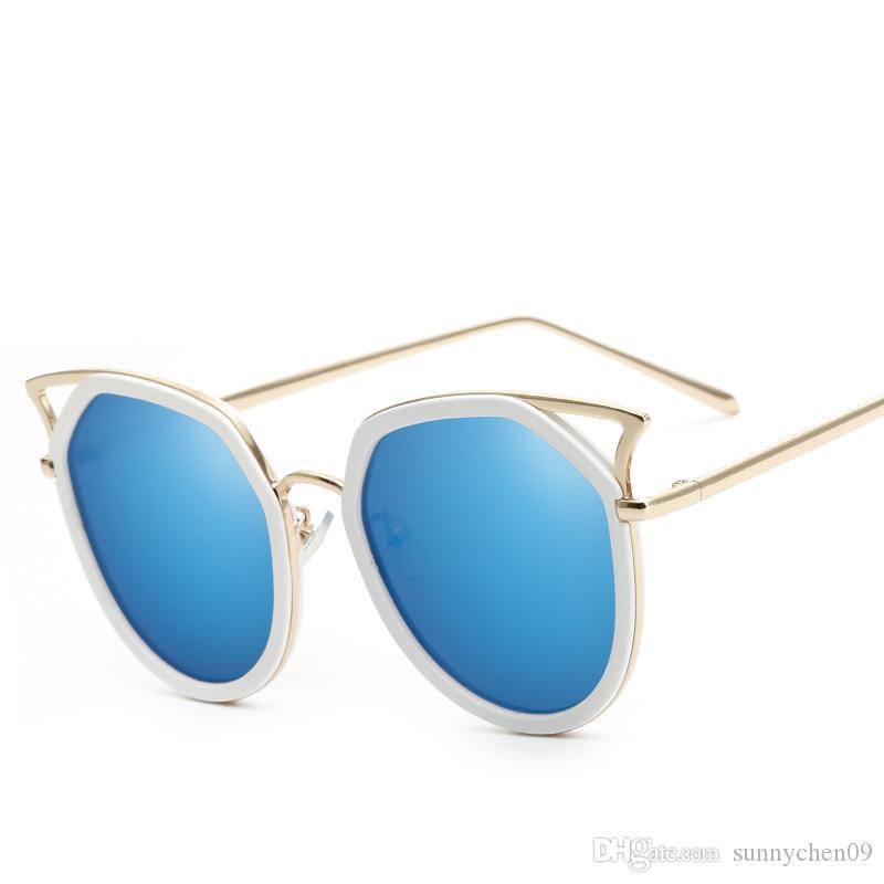 Diseñador de la marca Gafas de sol Gafas de sol con bisagras de metal de alta calidad para mujeres cat eye sunglasses Con estuche y caja