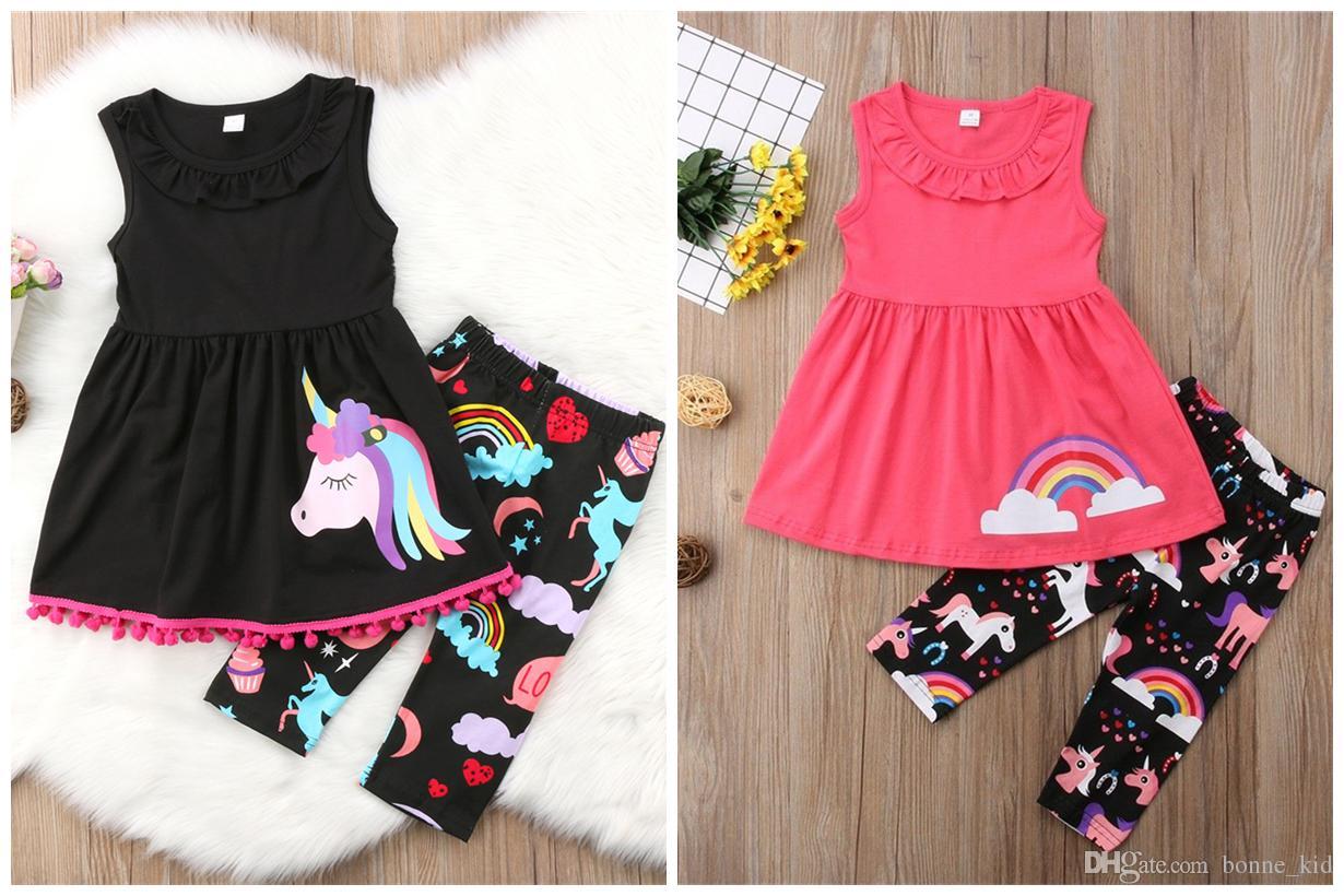 2018 Unicorn Kids Baby Girls Outfits Clothes Vest Top+Long Pants 2PCS Set tassels colorful fancy kid clothing black pink two colors set