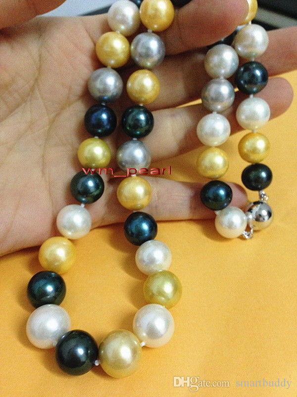 """FIN 18"""" AUTHENTIQUE ÉNORME 11-12mm mer sud OR BLANC GRIS NOIR perles multicolores Collier 14K"""