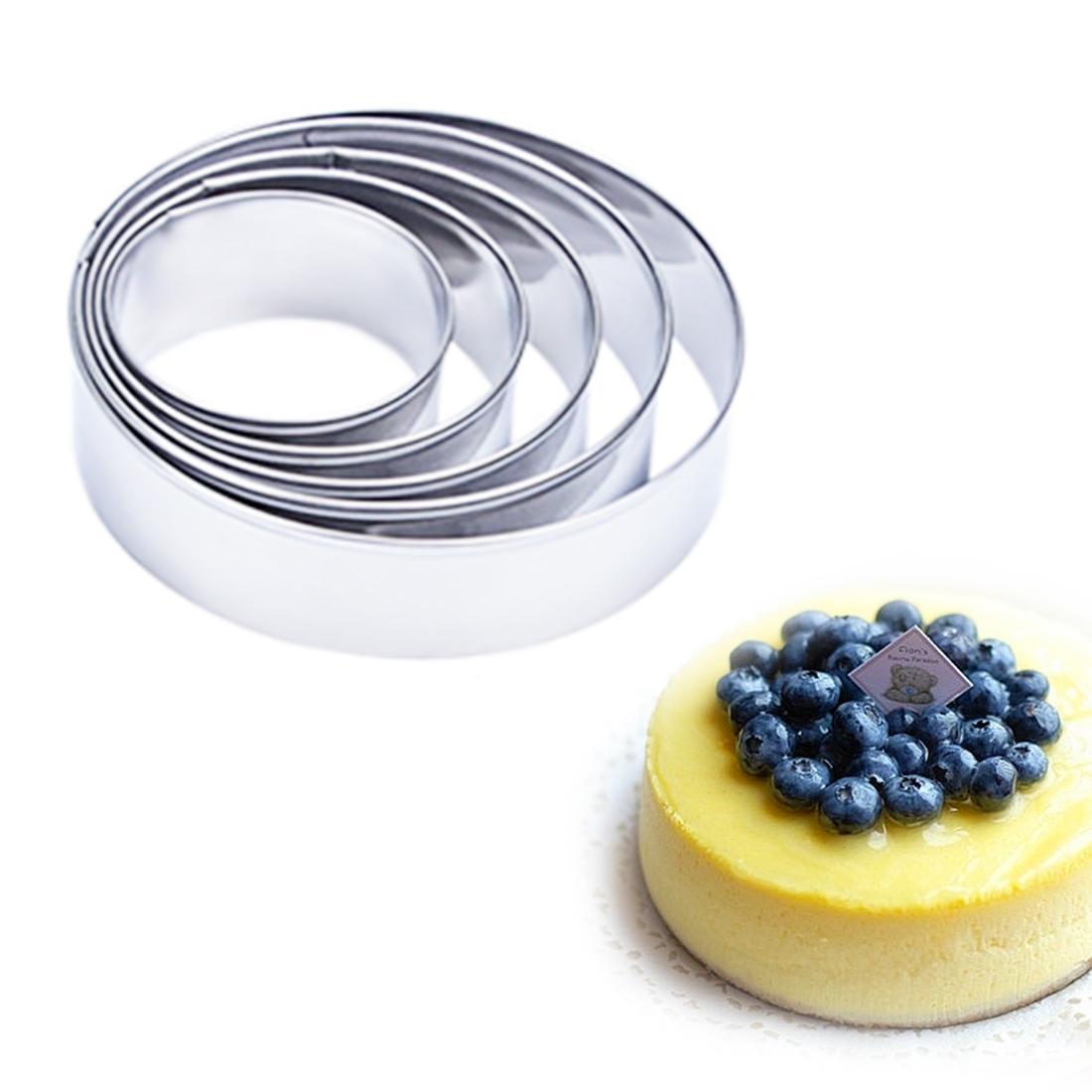 5pcs / set 원형 원형 모양 금속 과자 절단기 부엌 Bakeware 생일 퐁당 케이크 곰팡이 초콜릿 스텐실 제빵 도구