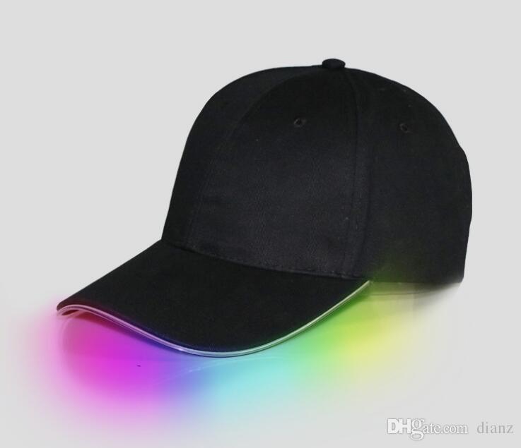 LED 가벼운 모자 글로우 모자 성인용 야구 모자에 대 한 검은 원단 선택 조정 크기에 대 한 빛나는 7 색 크리스마스 파티