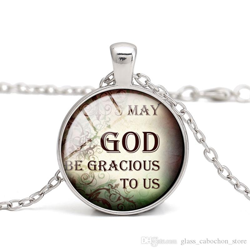 Wholesale Quotations Glass Cabochon Christian Quotes Pendant Necklace Easter Chirstmas Gift Children Women Men Jewelry Charm Wholesale Mens Gold
