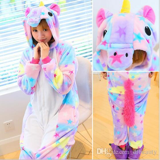 Wholesale Rainbow Unicorn Unisex Flannel Hoodie Tenma kigurumi Pajamas Costume Cosplay Animal Onesies Sleepwear Men Women Adults