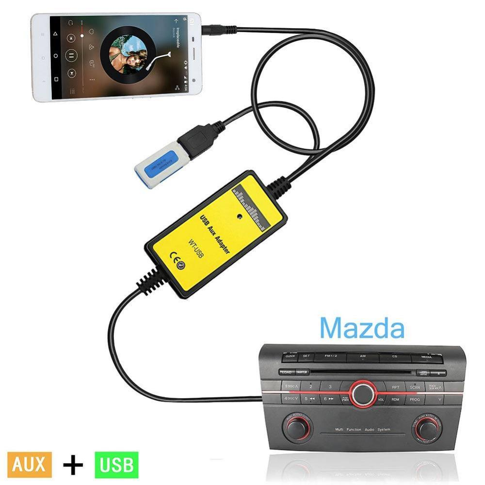 For Mazda 3 323 6 CX-7 RX-8 Black Car Audio MP3 USB Interface Aux Adapter